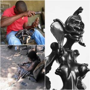 A sinistra, scultori makonde, museo nazionale d'arte di Maputo. A destra scultura makonde, dettaglio
