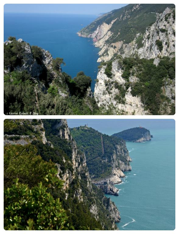 Campiglia, La Spezia. Sopra: le falesie del Muzzerone; sotto: la vista dal Pitone su Palmaria