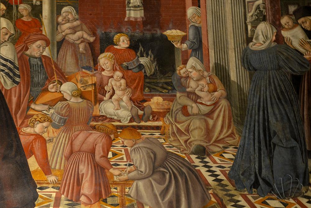 Siena, Santa Maria della Scala: particolare della cura dei gettarelli