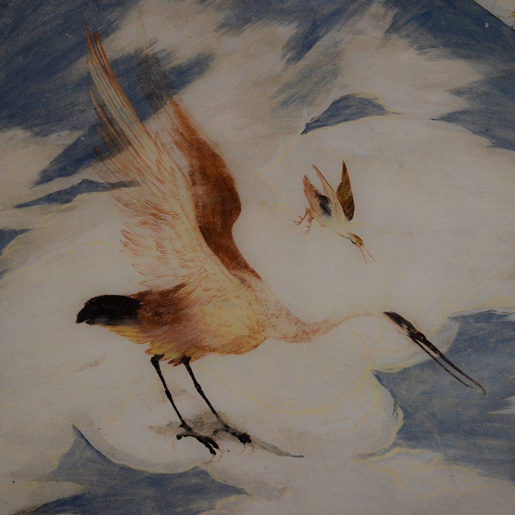 Un particolare degli affreschi di Torrechiara di estremo naturalismo