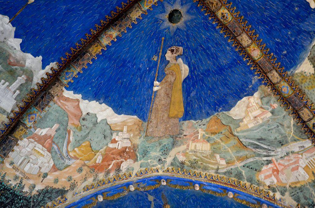 Bianca Pellegrini dagli affreschi della Camera d Oro, Torrechiara. la dama è descritta come un pellegrino in viaggio per le terre del suo amato. Il gusto del dipinto è ancora tardo-gotico