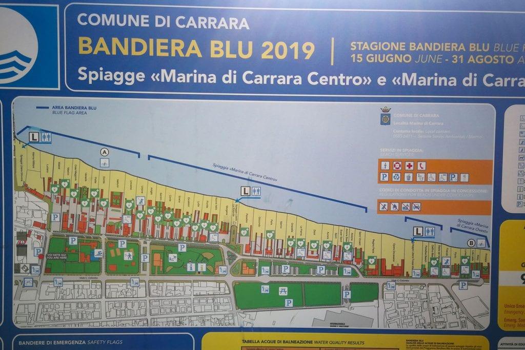 spiagge di Marina di Carrara posizione